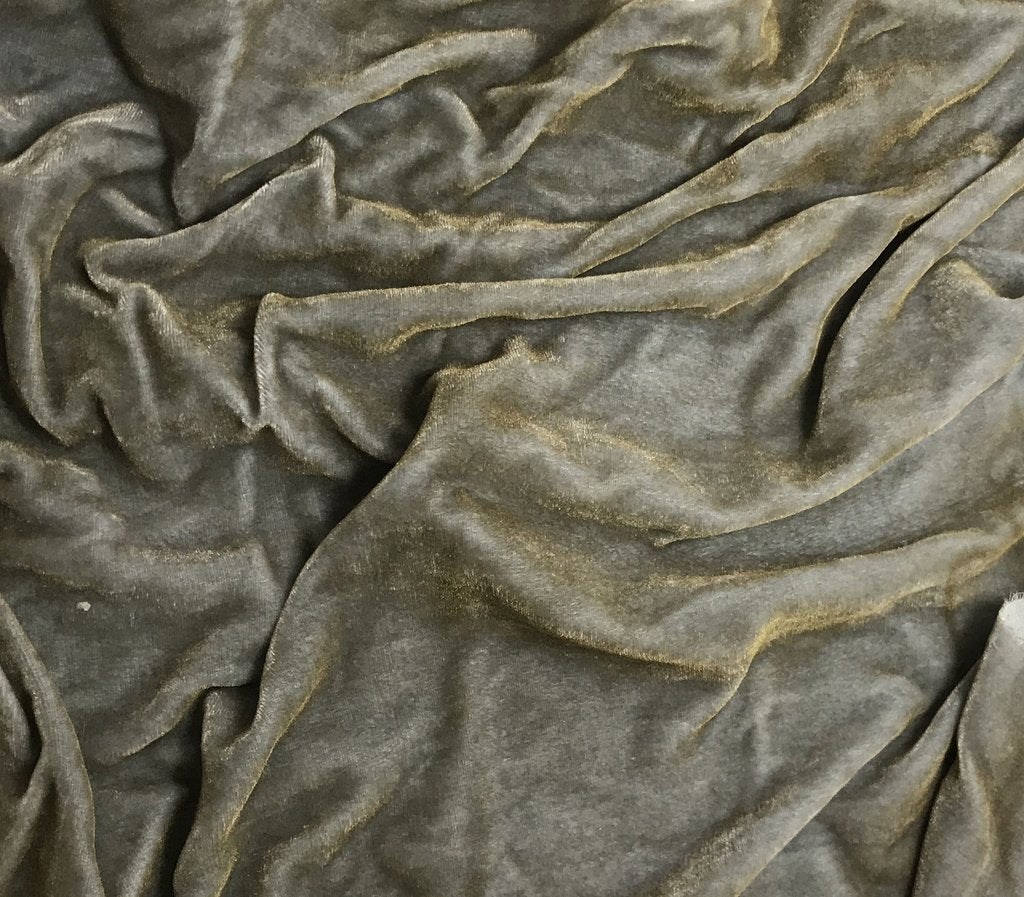 Antique Gold on Silver - Hand Painted Silk Velvet Fabric