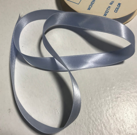 "Sky Blue 5/8"" Vintage Grayblock Double Faced Satin Ribbon"