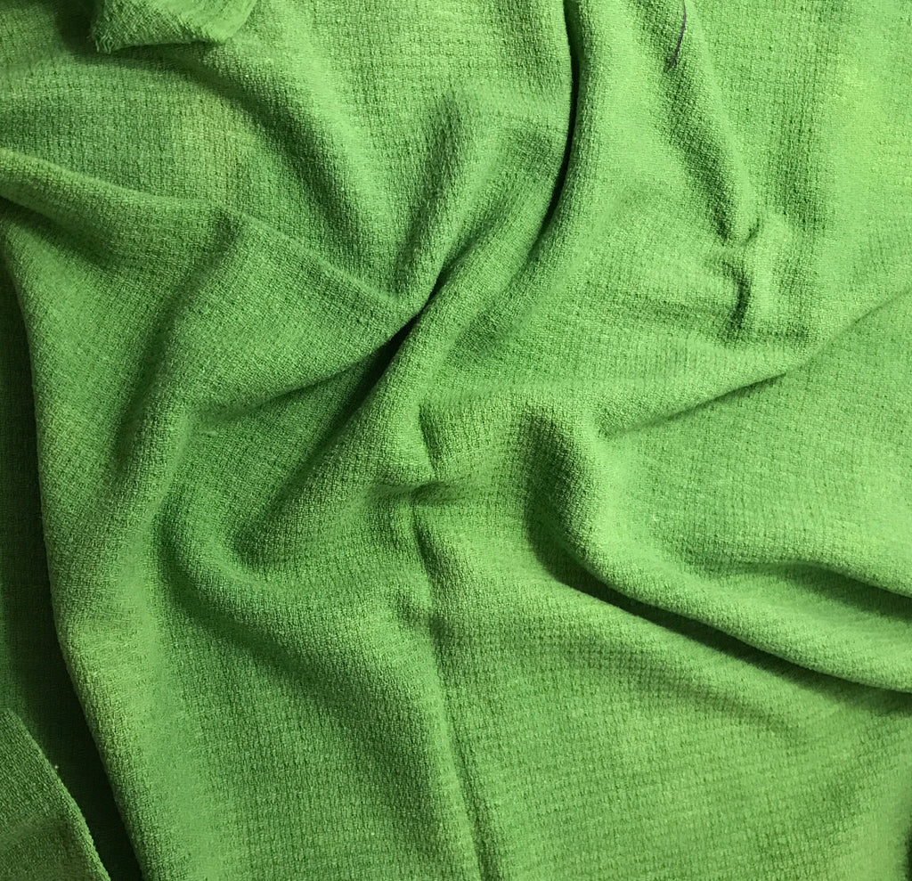 Apple Green - Hand Dyed Squares Weave Silk Noil