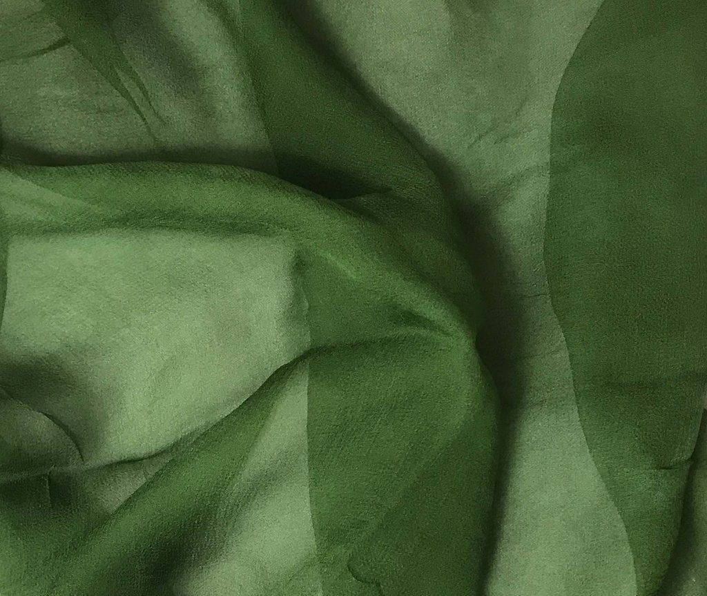 Spinach Green - 3mm Hand Dyed Silk Gauze Chiffon