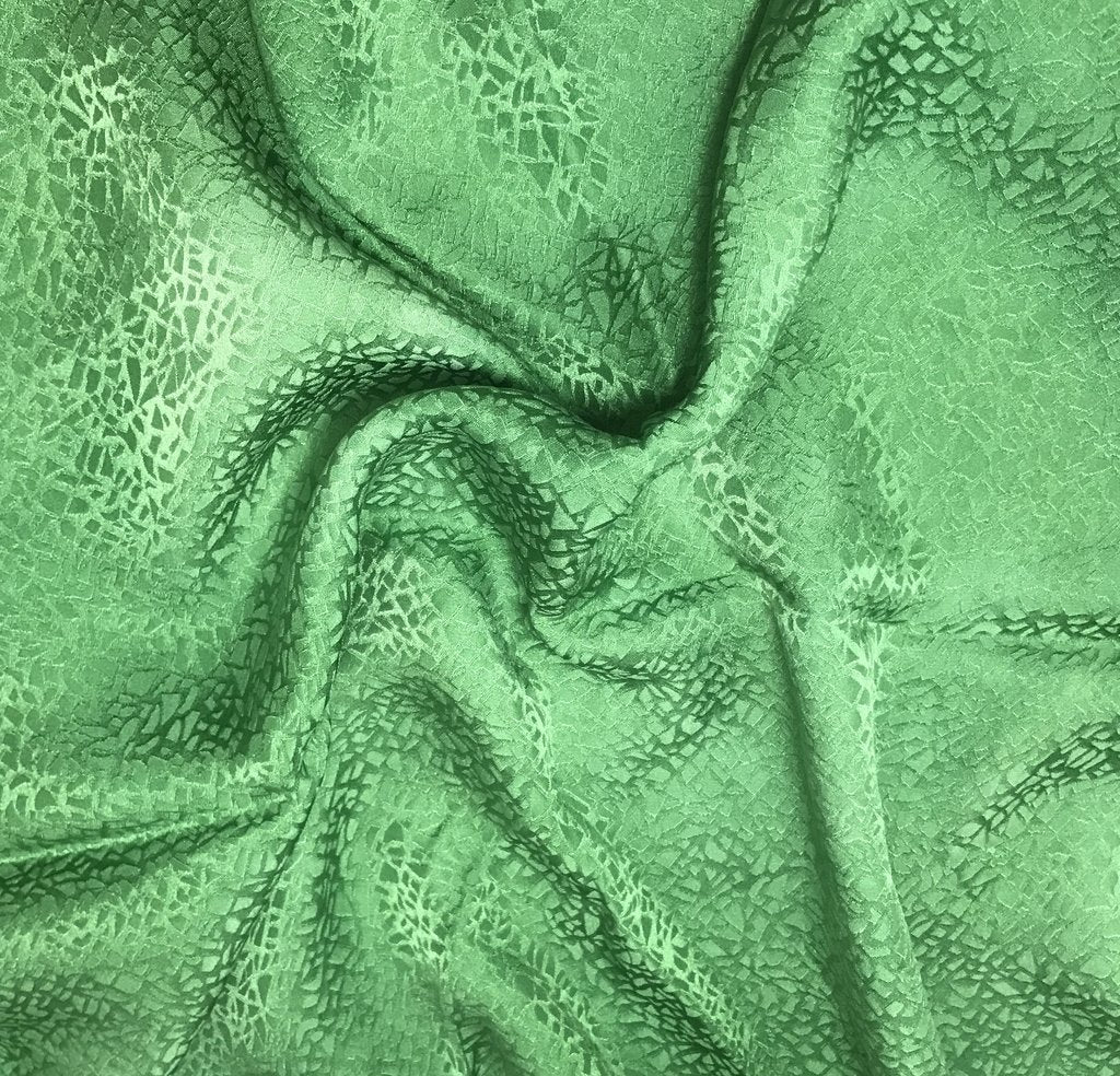 Spring Green Pebbles - Hand Dyed Silk Jacquard