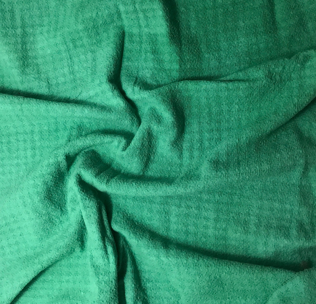 Spring Green - Hand Dyed Checkered Weave Silk Noil 1/4 Yard x 54""