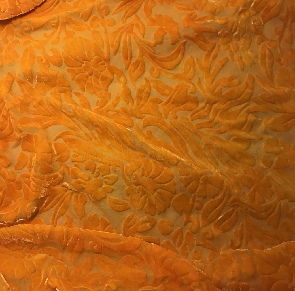 Tangerine Orange Floral - Hand Dyed Burnout Silk Velvet