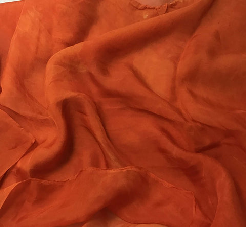 Tangerine Orange - Hand Dyed Soft Silk Organza