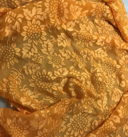 Tangerine Orange Sunflowers Floral - Hand Dyed Burnout Devore Silk Satin