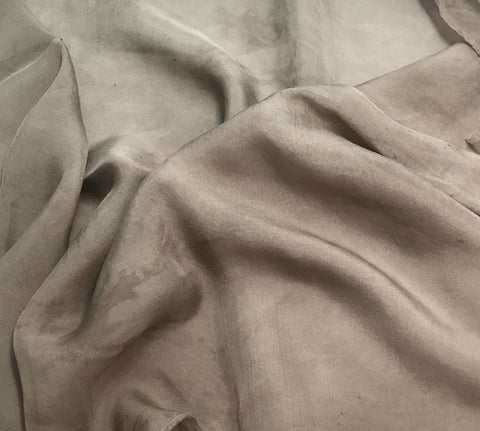 Taupe Brown - Hand Dyed Soft Silk Organza