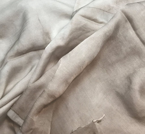 Taupe Brown - Hand Dyed Silk/Cotton Sateen