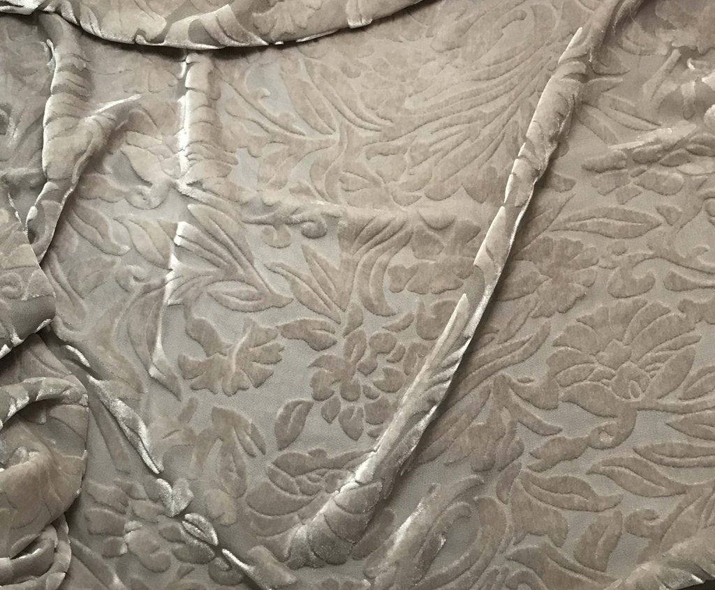 Taupe Gray Floral - Hand Dyed Burnout Silk Velvet
