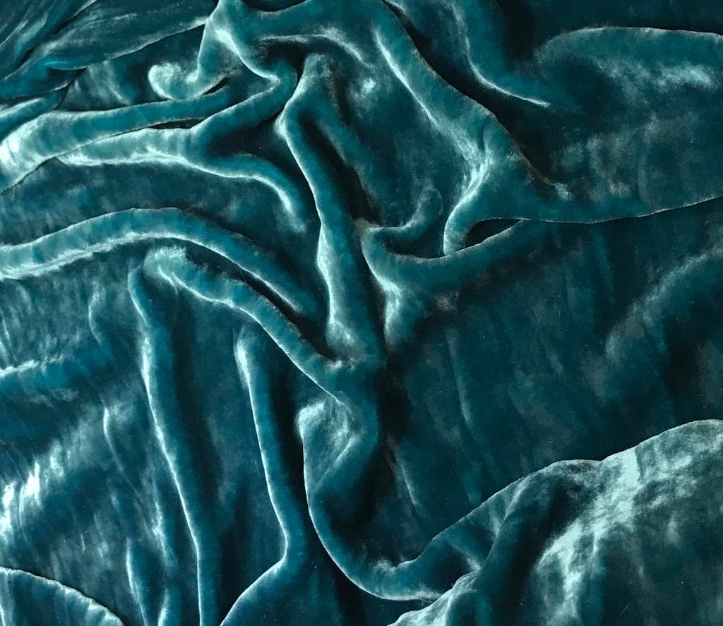 Teal Blue - Hand Dyed Very Plush Silk Velvet