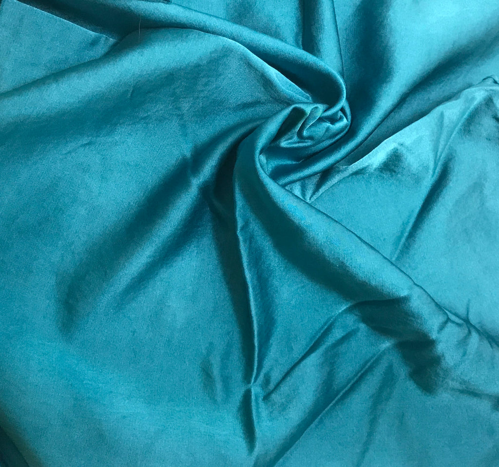 Teal Blue - Hand Dyed Silk/Cotton Satin