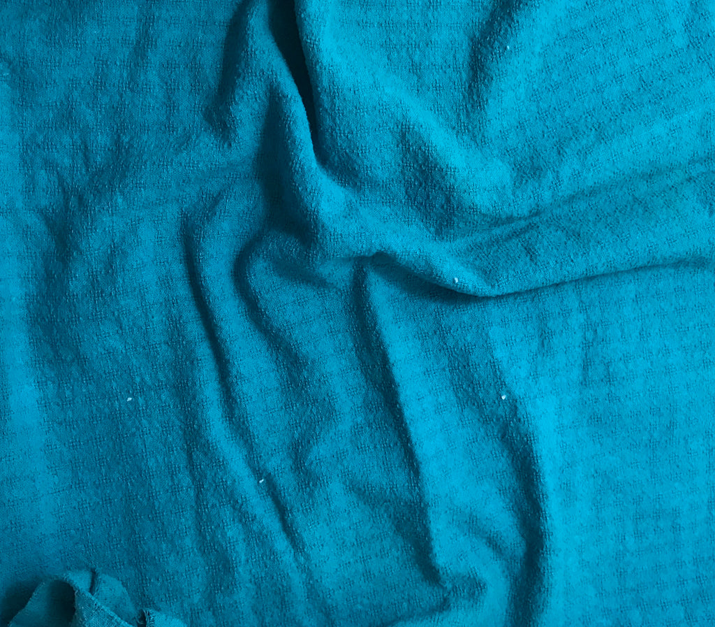 Teal Blue - Hand Dyed Checkered Weave Silk Noil 1/4 Yard x 54""