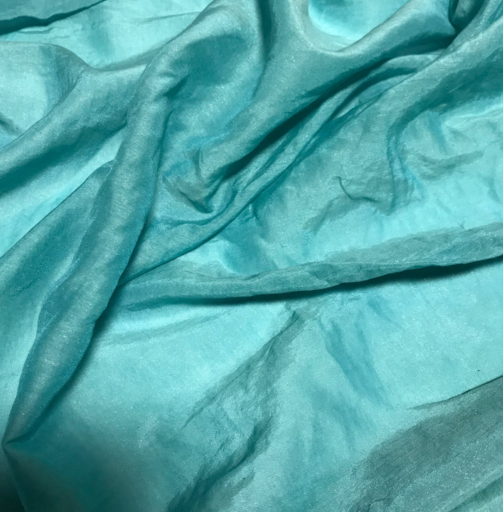 Teal Blue with Metallic Silver Luster - Hand Dyed Silk/Cotton Voile