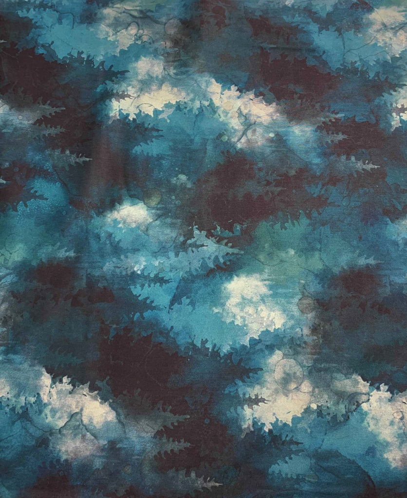 Teal Pine Trees - Whispering Pines - by Melanie Samra for Northcott Cotton Fabric