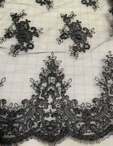 Black Floral Embroidered Tulle Lace Fabric