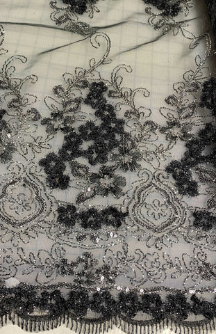 Black & Silver Sparkle Sequin Floral Embroidered Tulle Lace Fabric