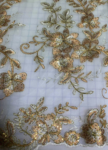 Copper & Pale Gold Floral Sequin Embroidered Tulle Lace Fabric