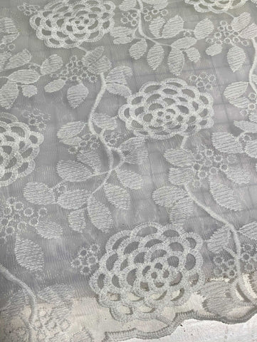 White Full Blooms Floral Embroidered Tulle Lace Fabric