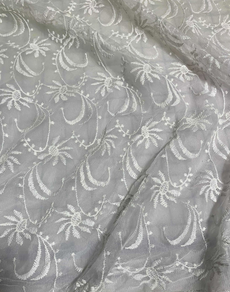 White Floral Waves Embroidered Tulle Lace Fabric