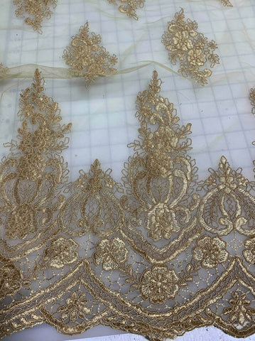Antique Gold Floral Embroidered Tulle Lace Fabric