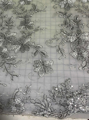 Silver Floral Sequin Embroidered Tulle Lace Fabric