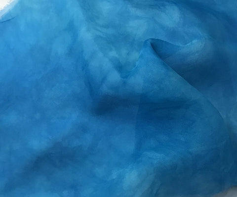 Turquoise Blue - Hand Dyed Silk Organza