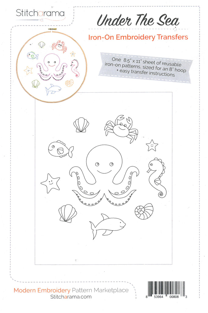 Under The Sea Iron-on Embroidery Transfer Pattern -Stitcharama