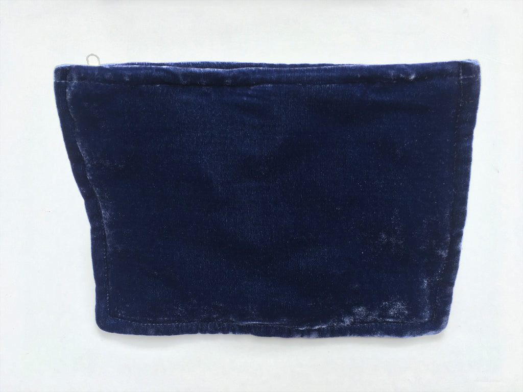 Denim Blue Hand Dyed Silk Velvet Zipper Pouch