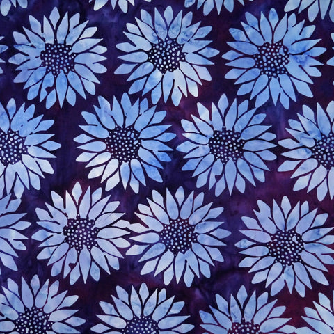 Vino Purple Sunflower Floral Peppy Purpur - Batik by Mirah Cotton Fabric