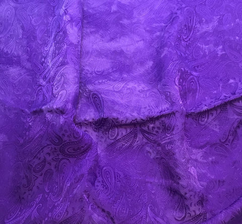 Violet Purple Paisley - Hand Dyed Silk Jacquard