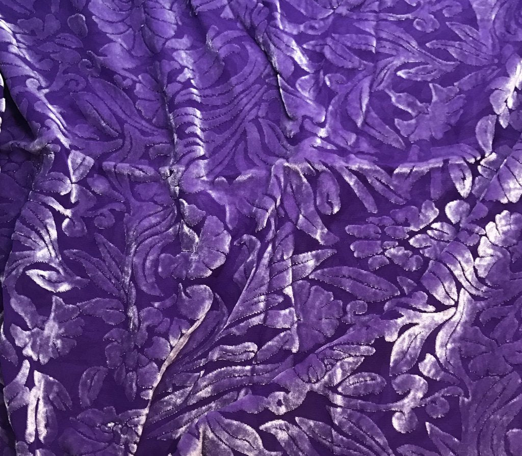 Violet Purple Floral - Hand Dyed Burnout Silk Velvet