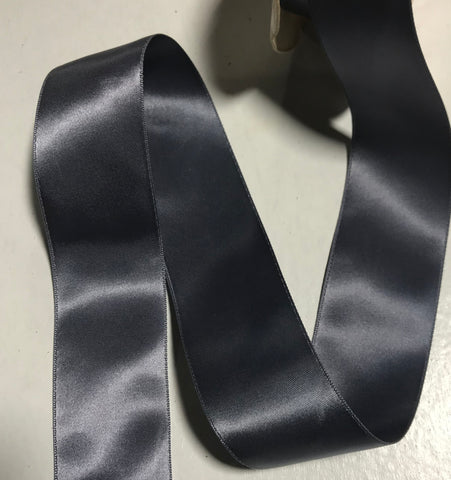 "Wedgewood Blue 1 1/2"" Vintage Grayblock Double Faced Satin Ribbon"
