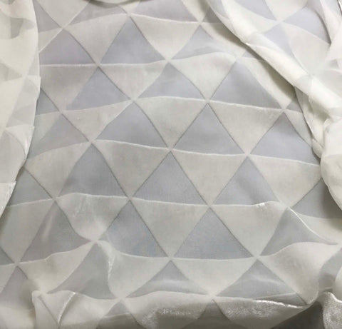 White Triangles - Burnout Silk Velvet