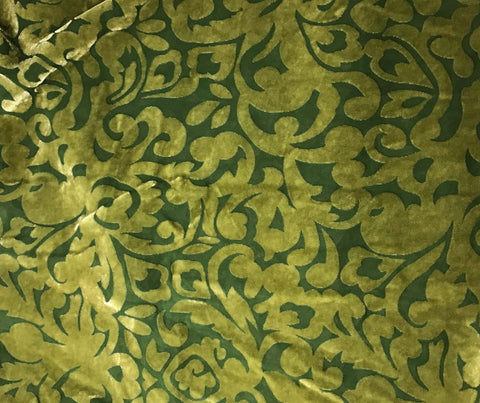 Yellow Green Scroll - Hand Dyed Burnout Silk Velvet