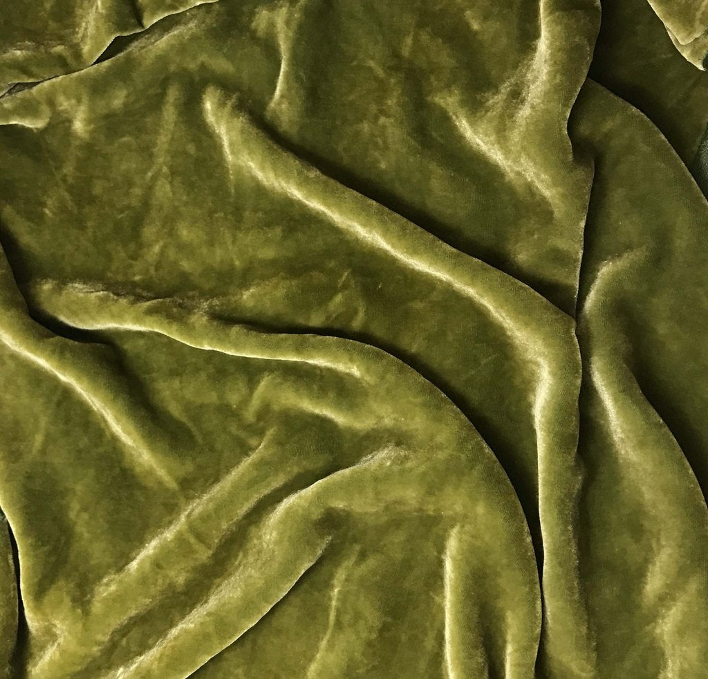 Yellow Green - Hand Dyed Silk Velvet