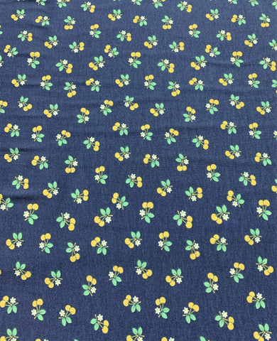 Calico Days Yellow Cherries on Blue - Lori Holt for Riley Blake Fabrics - Cotton Knit