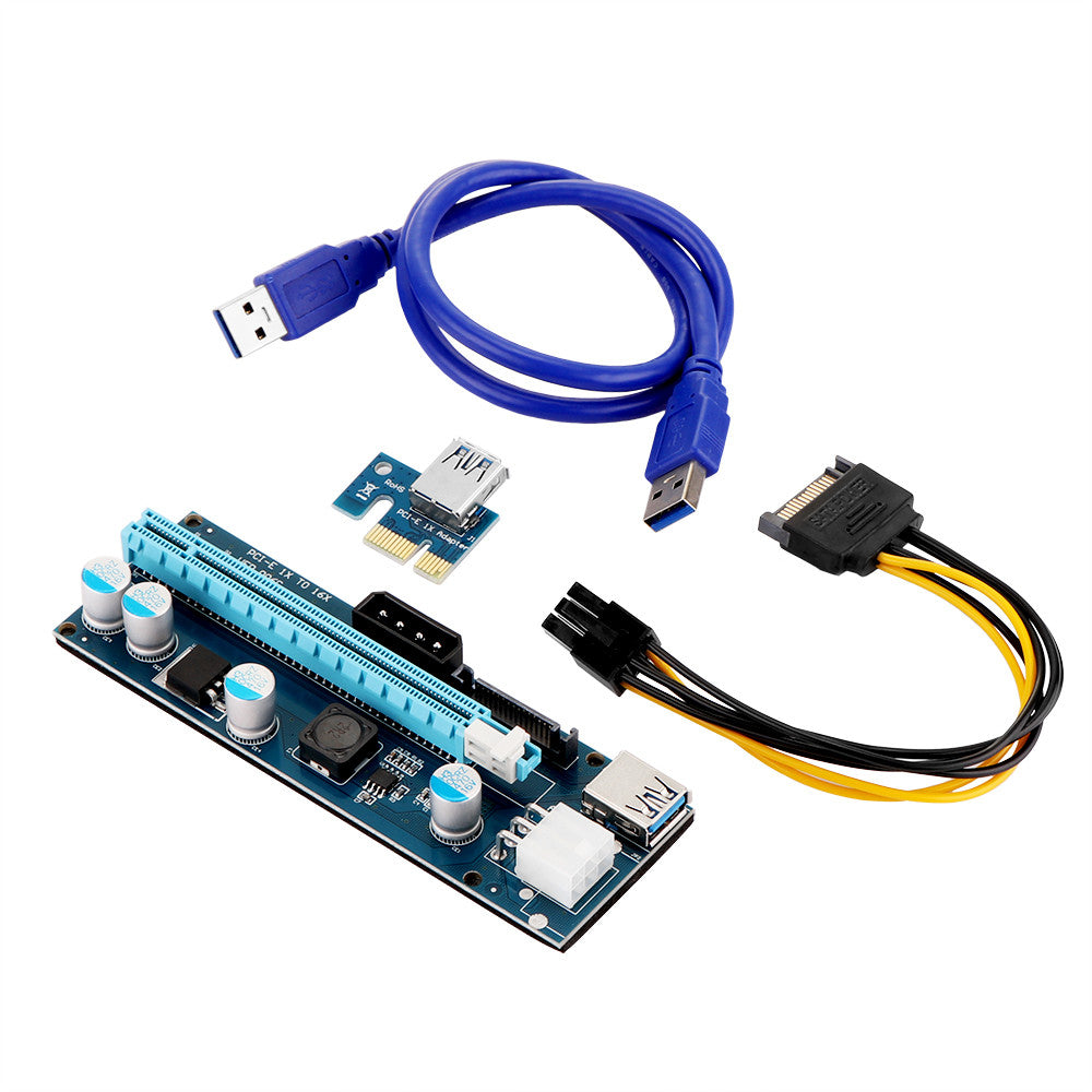 006C 6-Pin & 4-Pin PCI-E 1X to 16X GPU Riser Card Adapter with 60cm USB 3 0  Extension Cable for BTC Miner Mining Machine