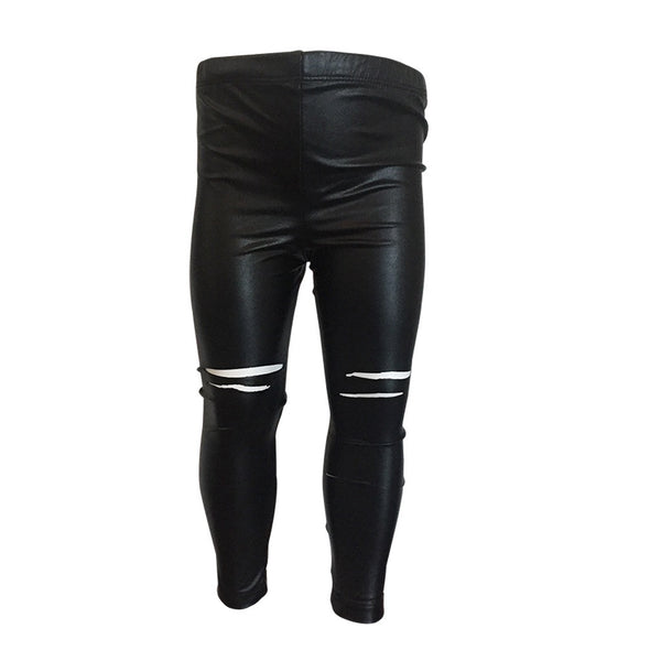 RIPPED VEGAN LEATHER LEGGINGS