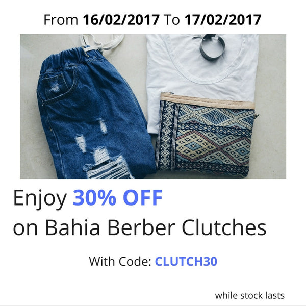 30% OFF on Bahia Berber Clutches - 48 Hours Only!