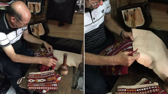 Discover how our Colorful Berber Clutches are made - Craft-man working