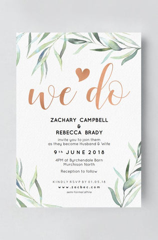 Boho Wedding Invitation with Eucalyptus