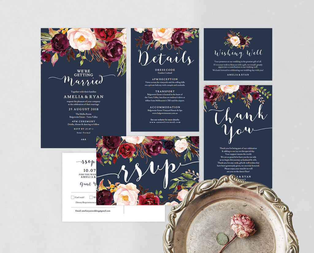Rustic Navy Floral Invite Set