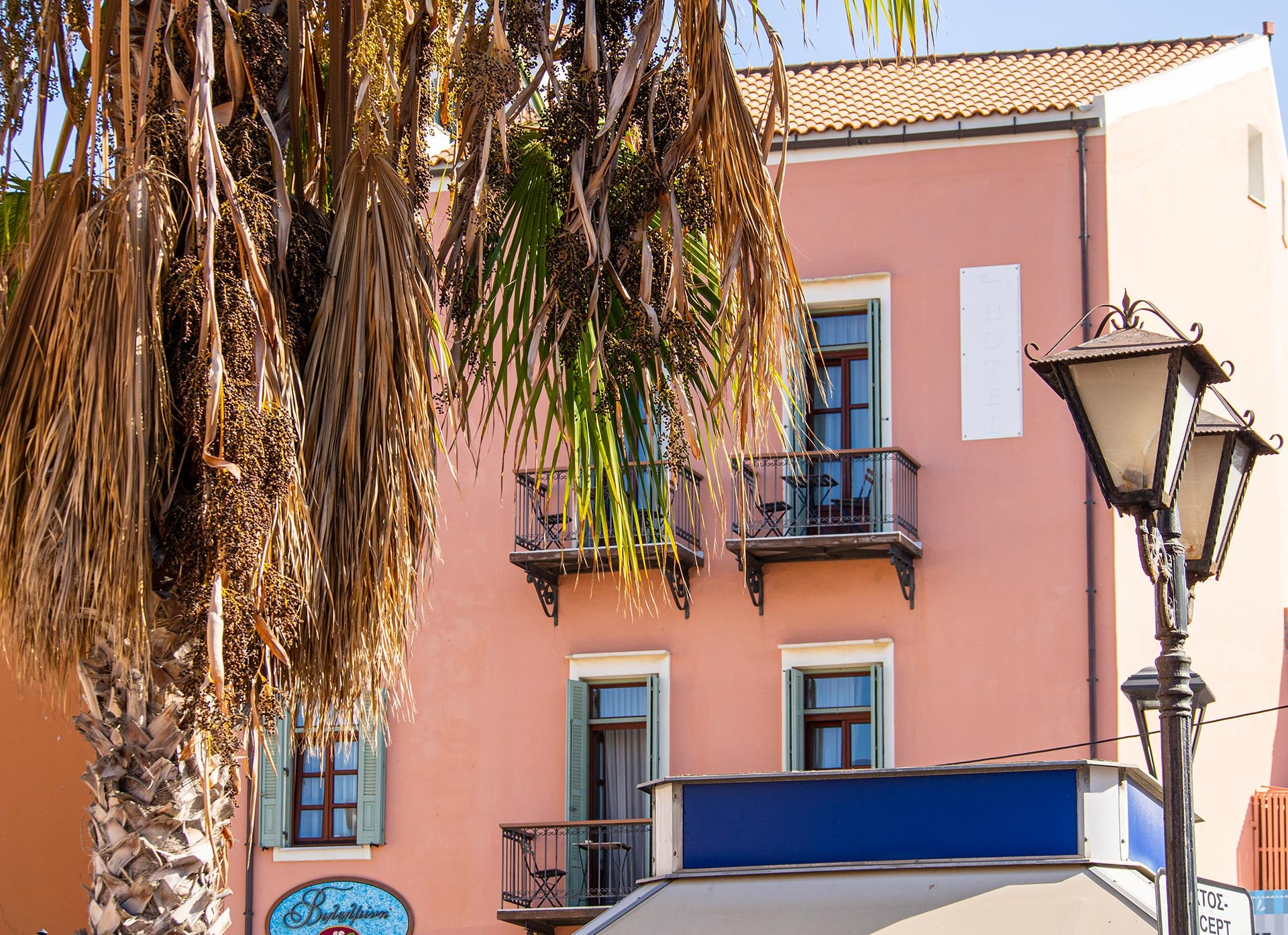 Chania Pink Building & Palm Tree