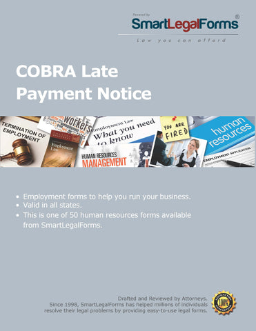 COBRA Late Payment Notice - SmartLegalForms