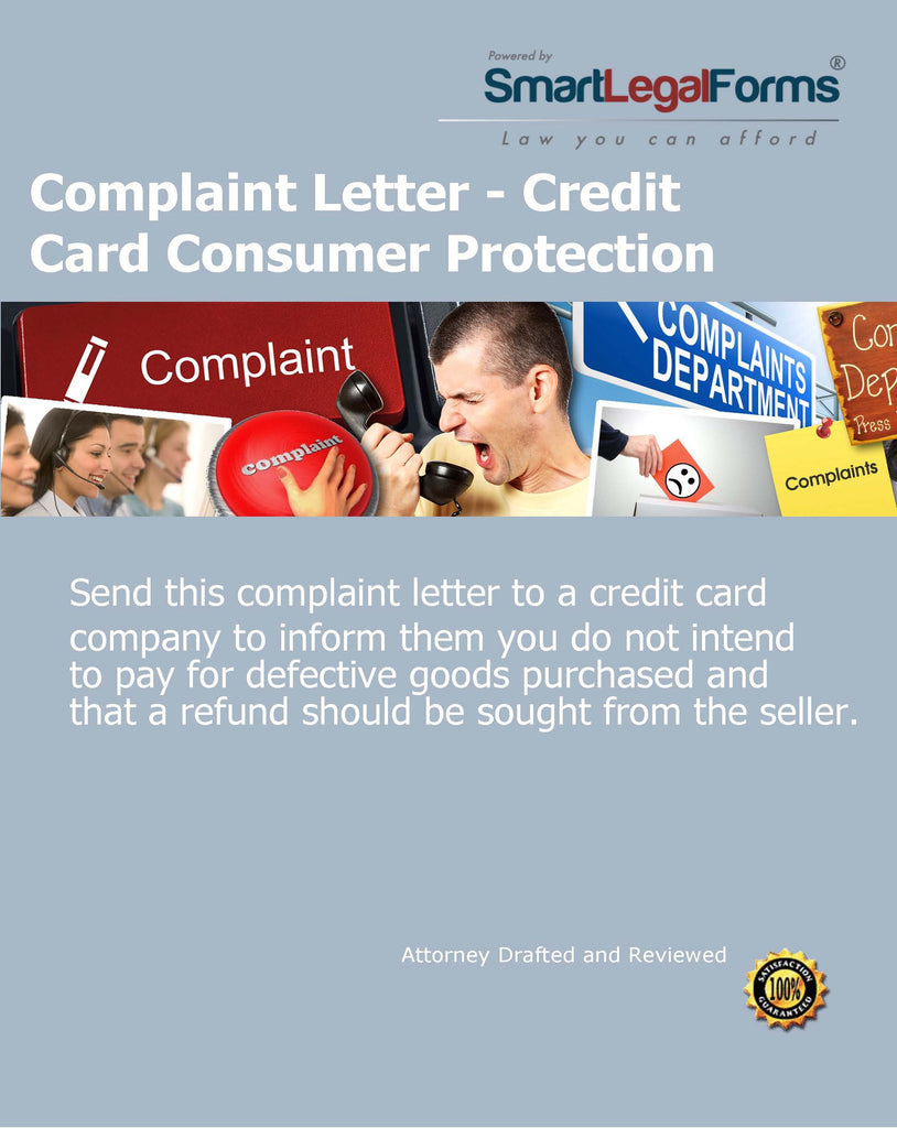 Complaint Letter - Credit Card Consumer Protection - SmartLegalForms