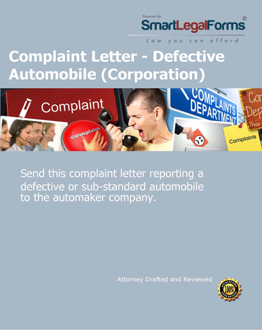 Complaint Letter - Defective Automobile (Corporation) - SmartLegalForms