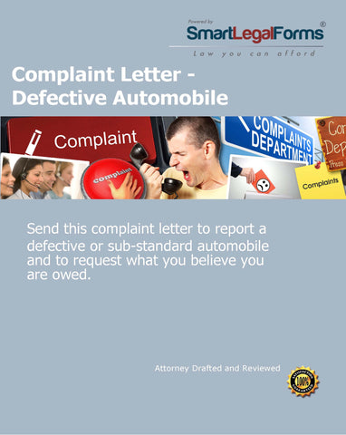 Complaint Letter - Defective Automobile - SmartLegalForms