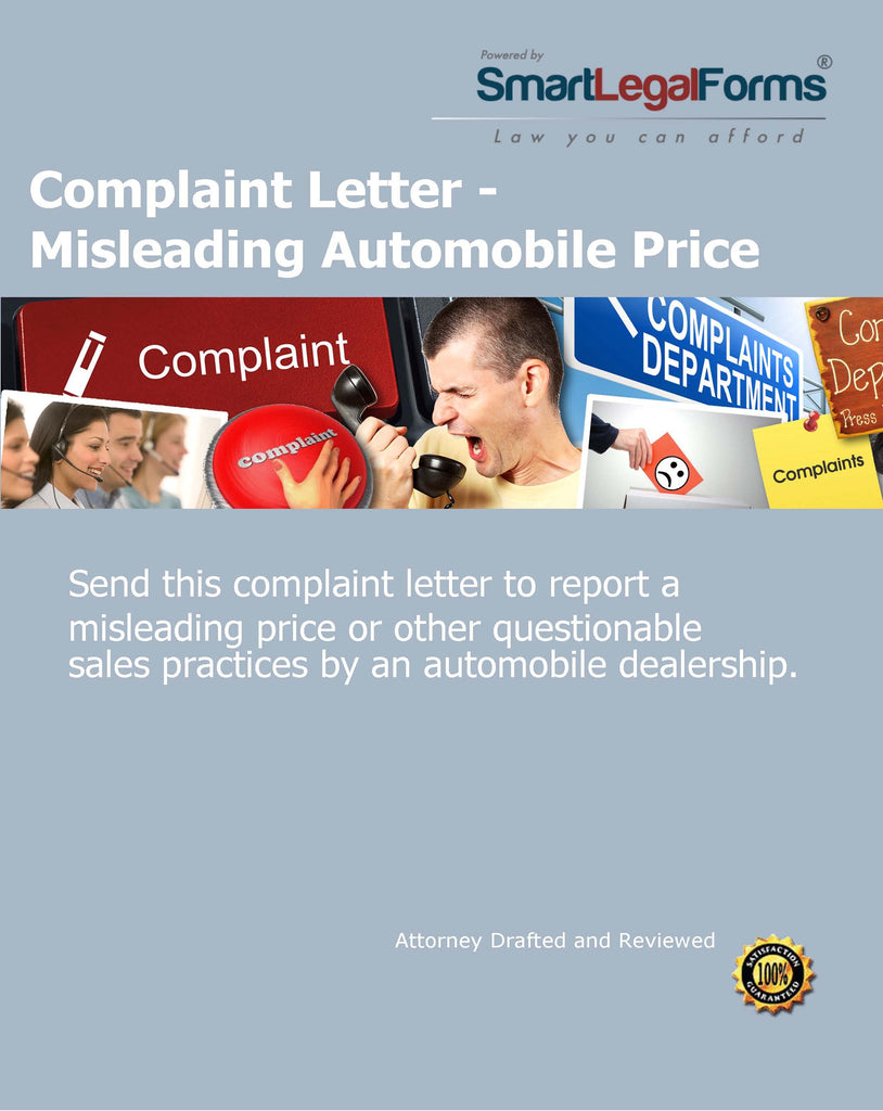 Complaint Letter - Misleading Automobile Price - SmartLegalForms