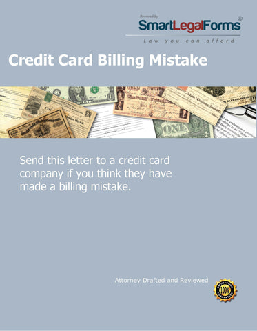 Complaint Letter - Credit Card Billing MIstake - SmartLegalForms