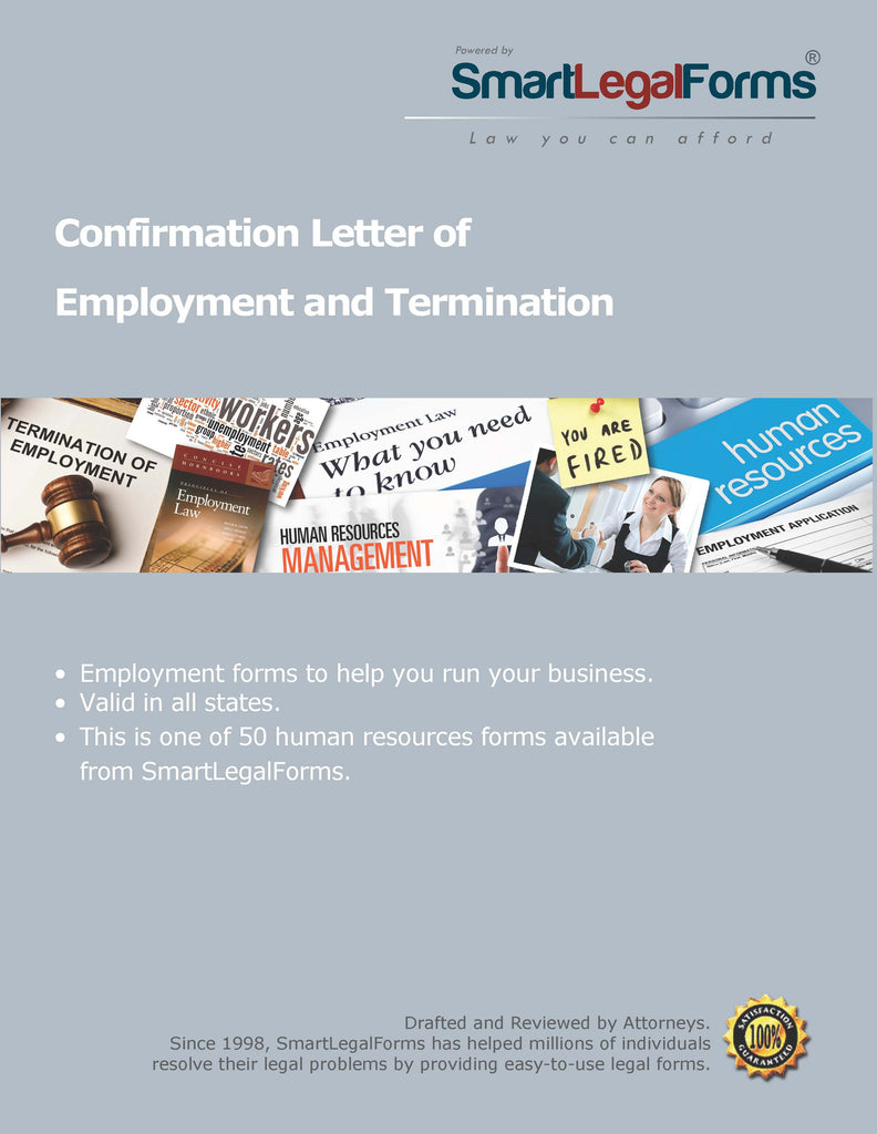 Confirmation Letter of Employment and Termination - SmartLegalForms