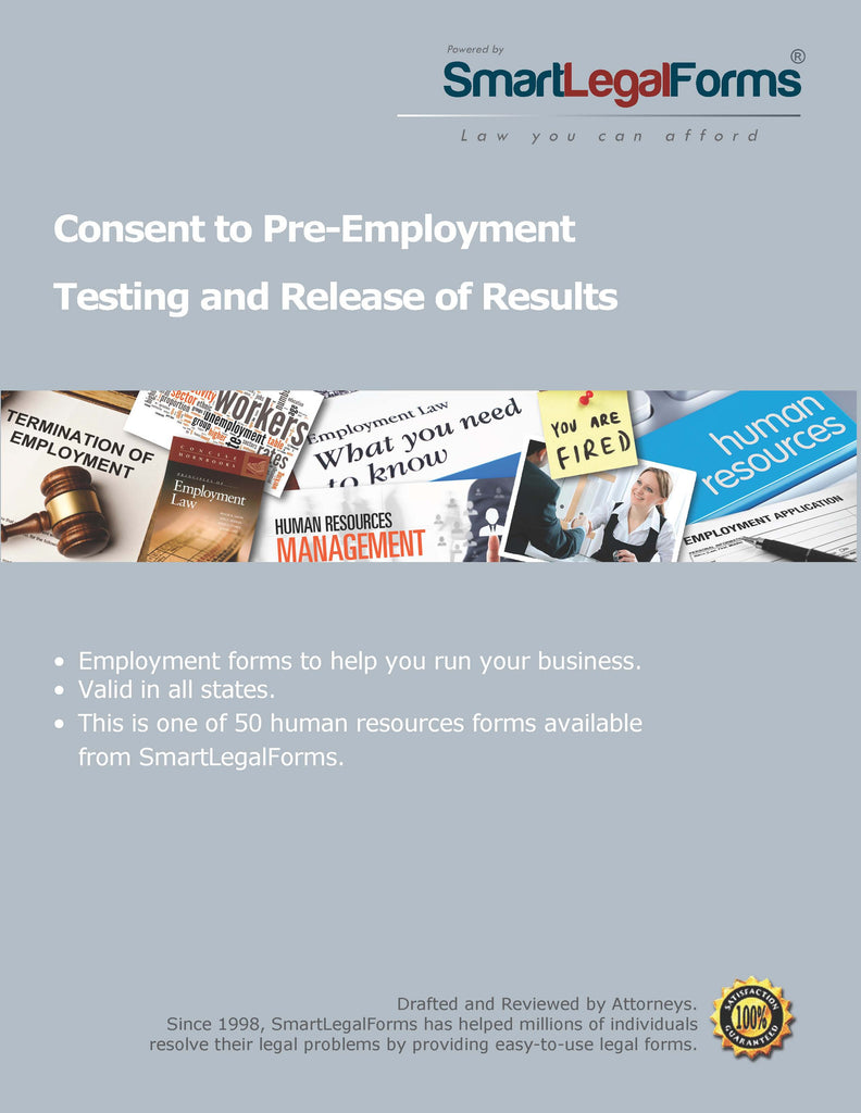 Consent to Pre-Employment Testing and Release of Results - SmartLegalForms